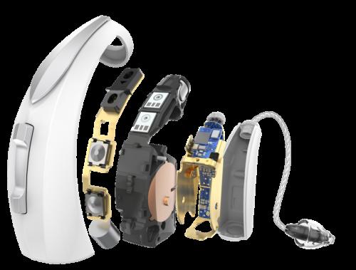 Audibel Via AI Starkey high end hörgerät Hinter dem Ohr (HdO) Hörgeräte mit Schlauchanbindung / externem Hörer mit maßgefertigtem Pass-Stück (Otoplastik) mit Batterien / Akku mit Funk / Bluetooth / Telefonspule / Induktionsspule mit Fernbedienung / Taster / Wippe / Programmknopf mit Körpersensoren / Bewegungssensoren mit Smartphone App Gehäusegröße hängt von Ausstattung ab