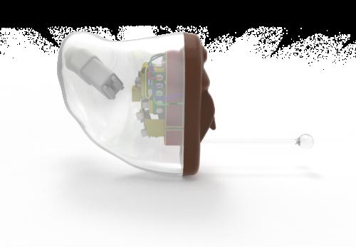 In dem Ohr (IdO) Hörgeräte mit Batterien / Akku mit angepasster Schale mit externem Mikrofon mit Funk / Telefonspule / Induktionsspule Bluetooth / 2,4 GHz mit Fernbedienung / Taster / Lautstärke-Rad mit Körpersensoren / Bewegungssensoren mit Smartphone App Gehäuseform und -größe hängt von individueller Form des Außenohres und der Ausstattung ab